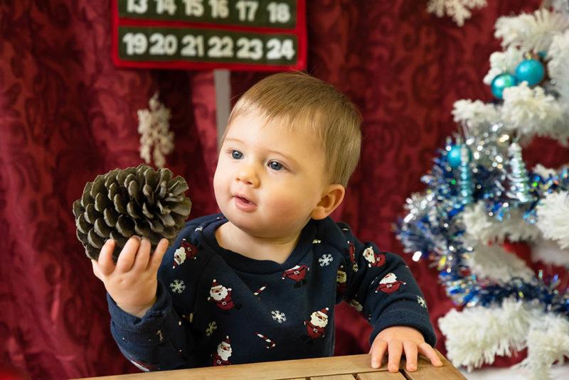 portrait bebe qui tient une pomme de pin