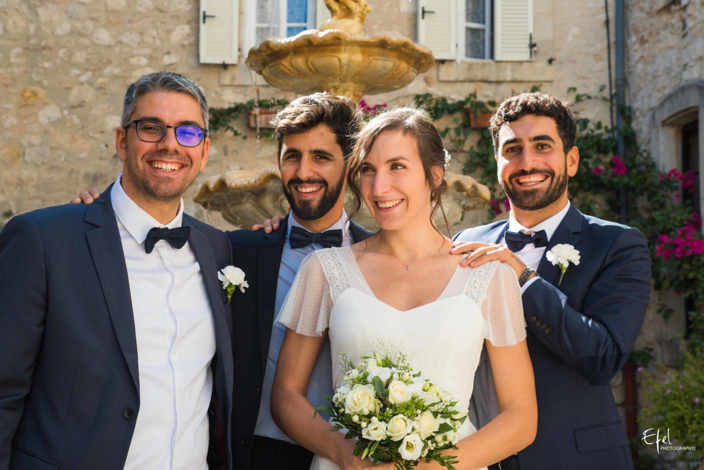 La marié et les témoins - reportage de mariage dans les hautes alpes et en Provence