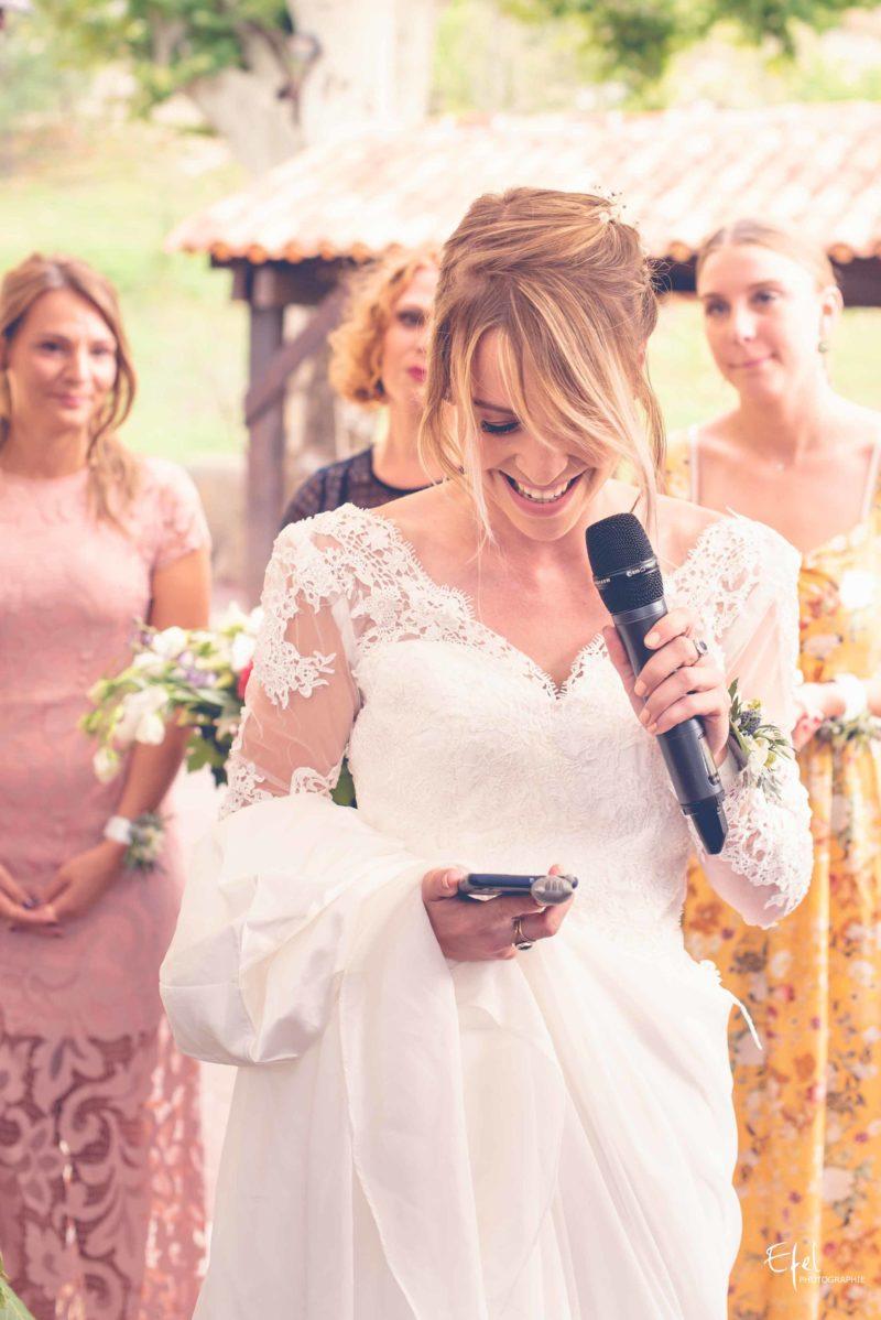 Photo de cérémonie de mariage Gap, le discours de la mariée
