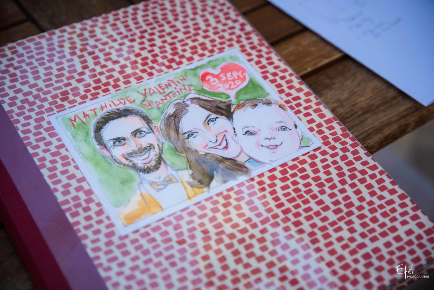 L'album de mariage des mariés réalisé par le dessinateur Ripo - reportage de mariage dans les Alpes Maritimes à Tourrettes sur Loup