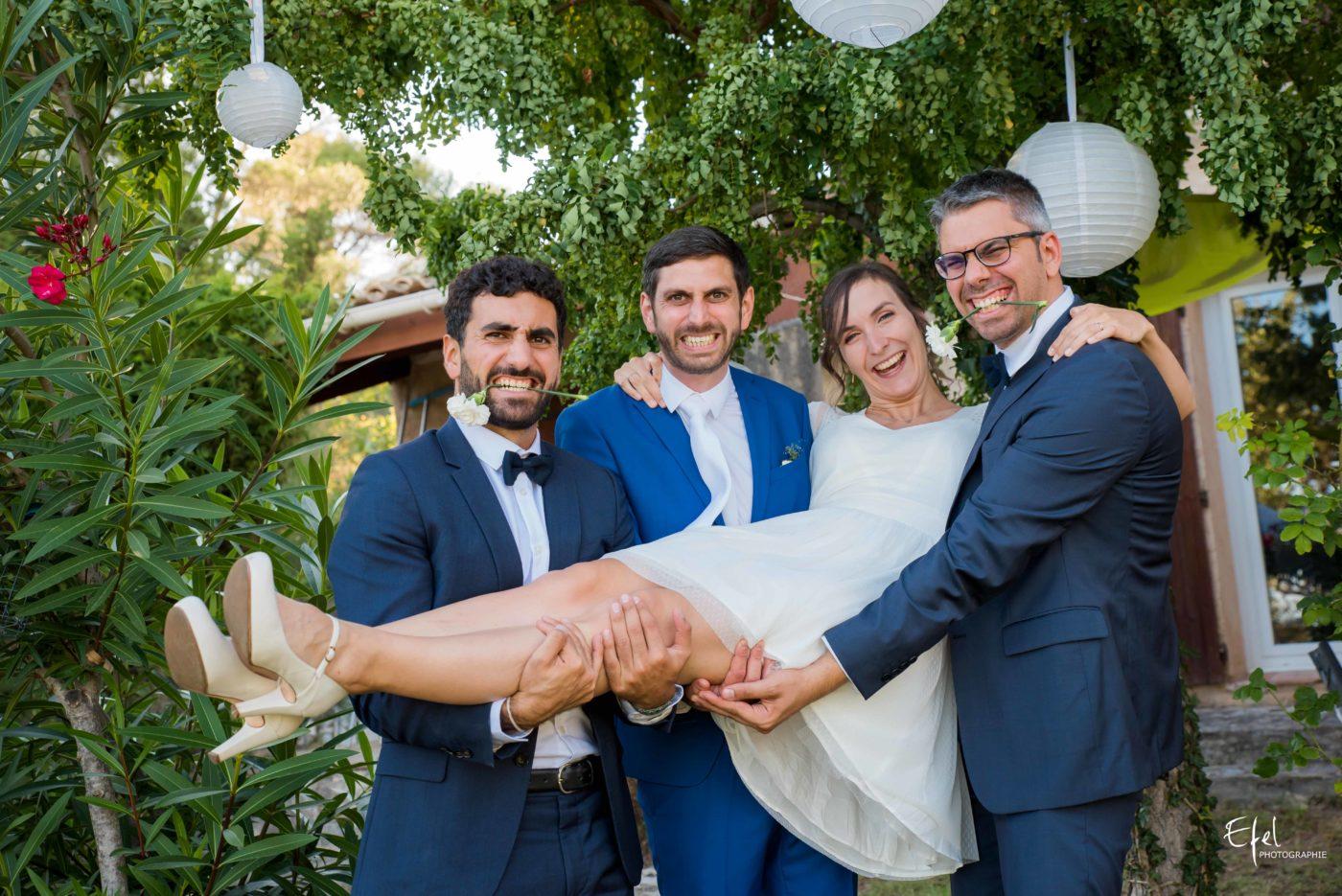 Photo de la mariée et des témoins - mariage alpes maritimes