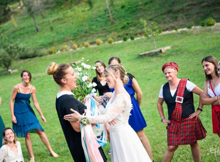 le bouquet et les rubans pour le jeu des rubans - mariage briançon